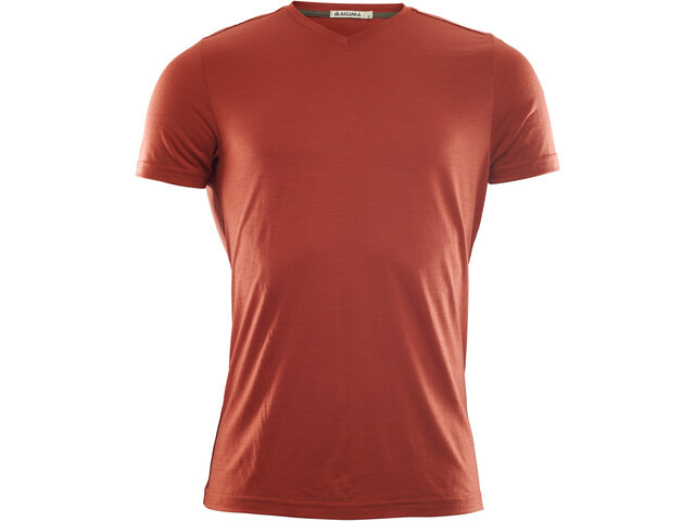 Aclima LightWool V-Neck T-Shirt Men red ochre